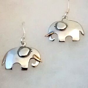 Elephants Drop Earrings In Silver