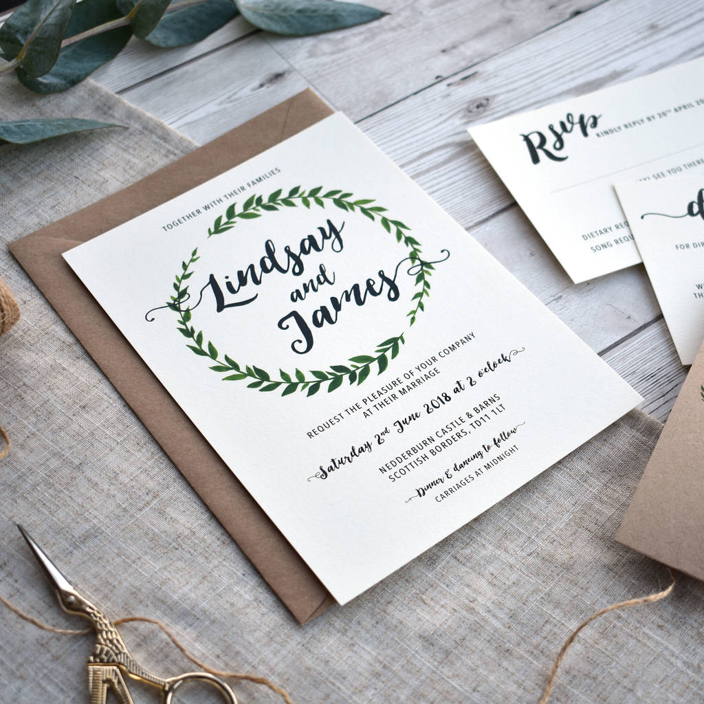 botanical leaf wreath wedding invitation set by oops a doodle ...