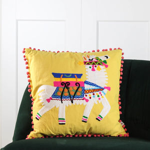 Yellow Pom Pom Llama Cushion