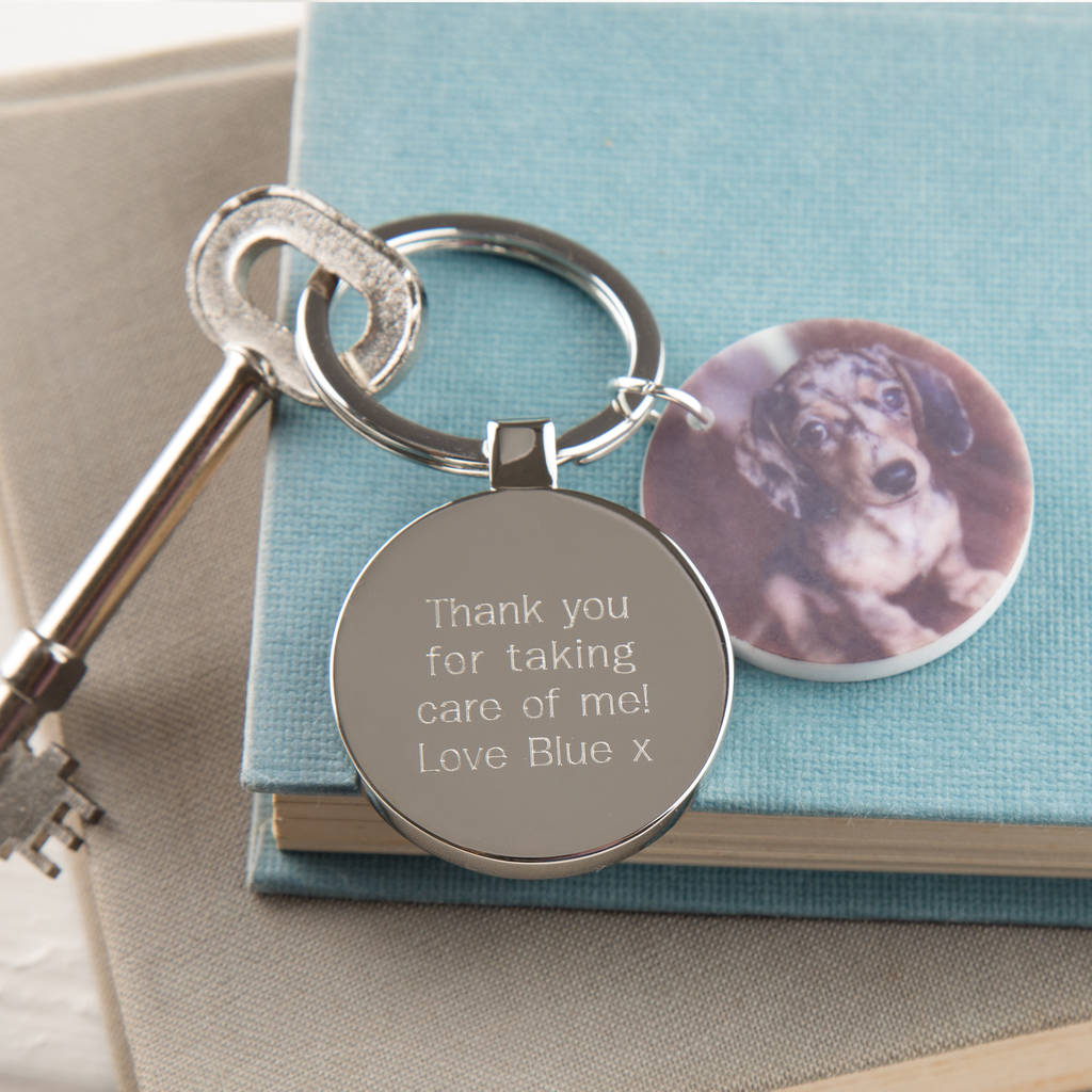 Personalised Thank You From Pet Photo Keyring