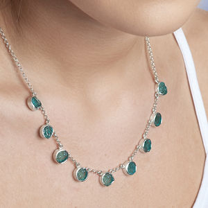 Apatite Natural Gemstone Ladies Silver Necklace - birthstone jewellery gifts