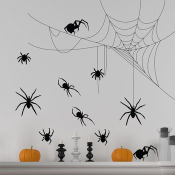 Halloween Spider And Cobweb Wall Sticker Set