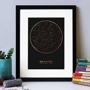 Personalised Map Of The Stars Black And Gold Foil - our top sale gift picks