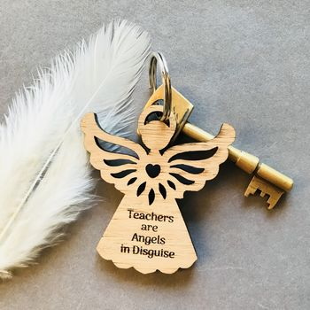 Teacher's Personalised Angel Keyring