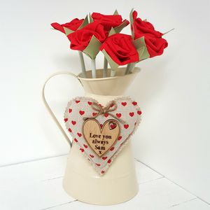 Cotton Anniversary Red Roses In Jug With Engraved Tag - flowers