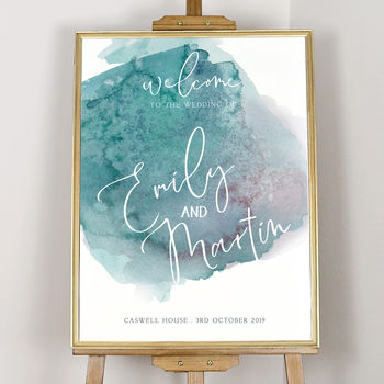 Personalised Watercolour Hues Welcome Sign