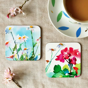 Daisies And Geraniums Watercolour Pair Of Coasters - placemats & coasters