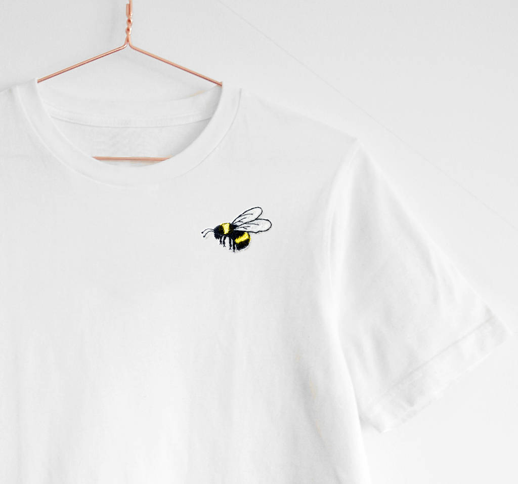 2c8ce47b8da068 emboidered bumble bee t shirt oversized handmade by lint & thread ...