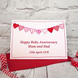 Ruby Wedding 40th Anniversary Card