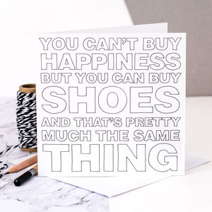 Card For Shoe Lovers; Happiness Is Shoes - funny cards