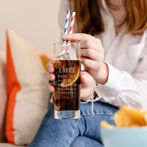 Personalised Christmas Rum Highball Glass For Him