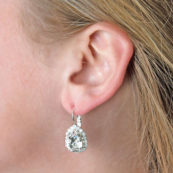 Pear Drop Bridal Earrings Made With Swarovski Crystals