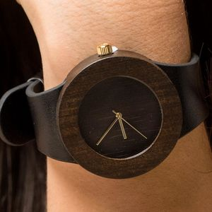 Blackwood And Black Leather Watch - watches
