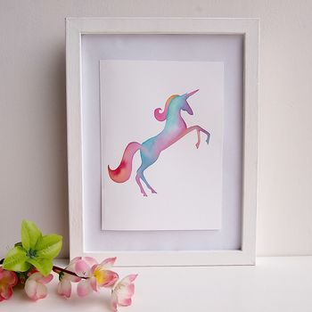 Watercolour Unicorn Rainbow Art Painting Print