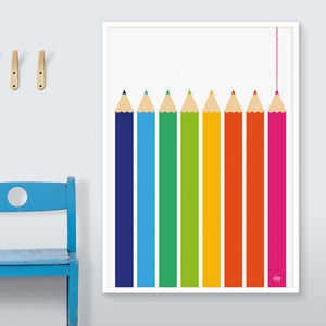 Multcoloured Pencils Print Rainbow Colours