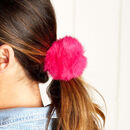 Fluffy Pom Pom Hair Bobble Tie