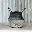 Fairtrade Handwoven Black And Silver Sequin Basket