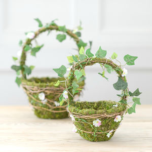Woodland Moss And Faux Daisy Flower Girl Basket Set