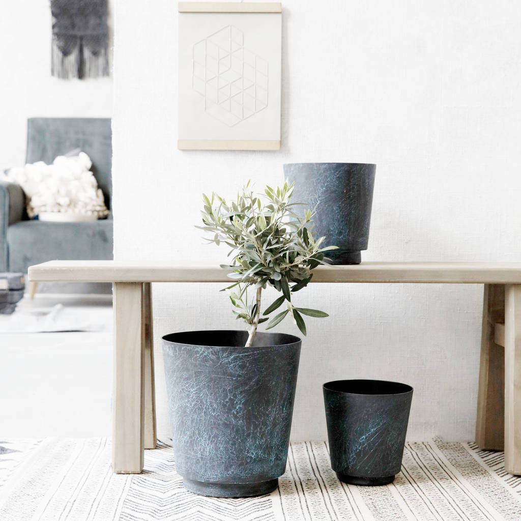 Marble Effect Blue Planter Flower Pot By Old With New