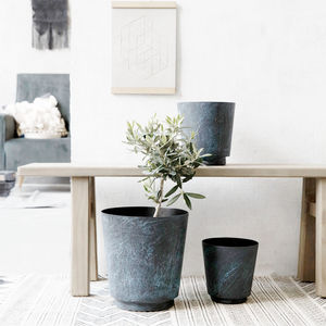 Marble Effect Blue Planter Flower Pot - scandi home decor