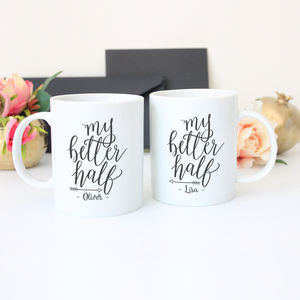 Personalised 'My Better Half' Couples Mug Gift Set