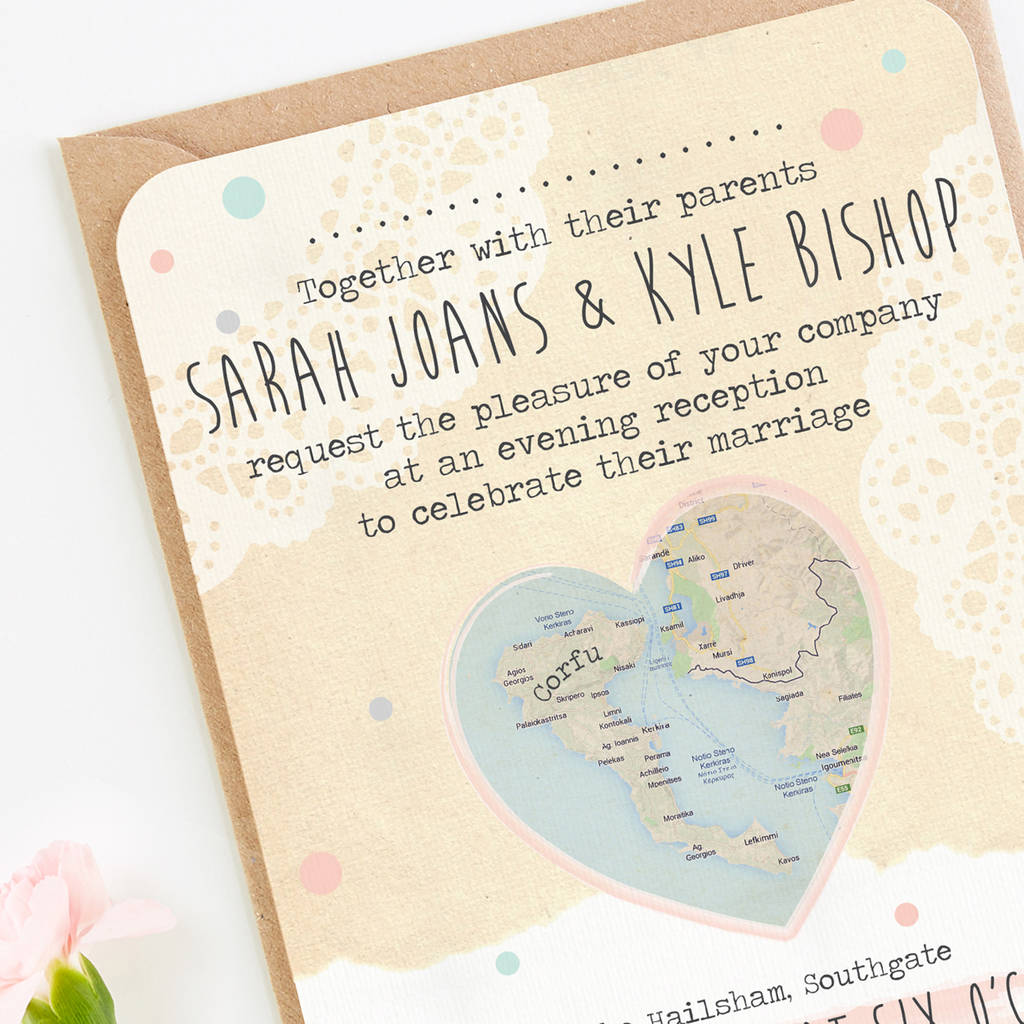 map evening wedding invitations by norma&dorothy ...