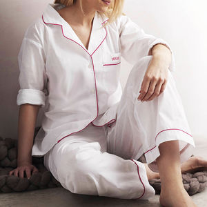 Personalised Women's White And Pink Cotton Pyjama's - gifts for the bride