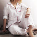 Personalised Women's White And Pink Cotton Pyjama's