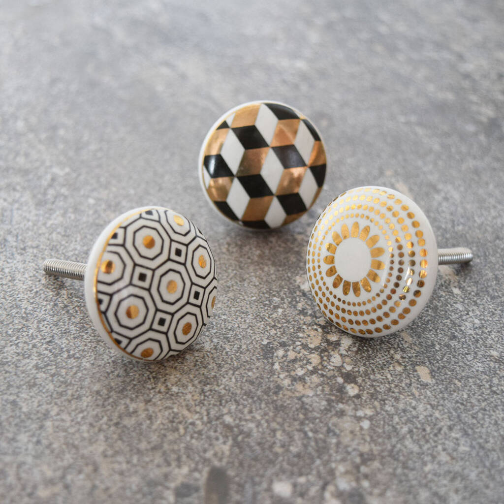 Black White And Gold Patterned Cupboard Door Knobs By