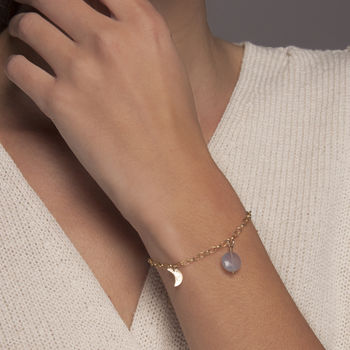 Gold Or Silver Moon Phase Bracelet Gem Choice