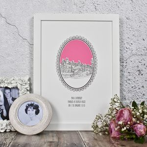 Cameo Style Wedding Venue Illustrations