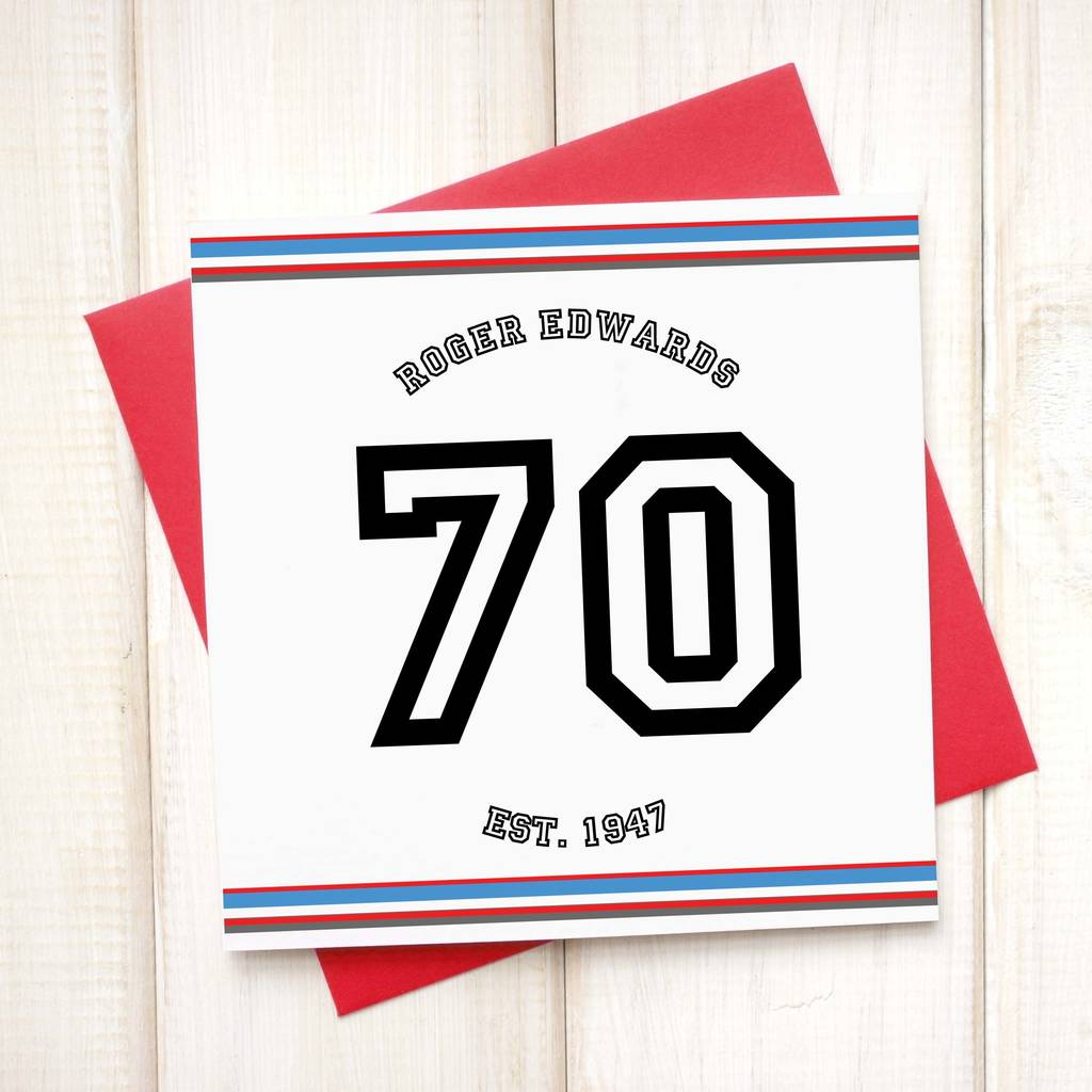 Personalised 70th Sport Birthday Age Card