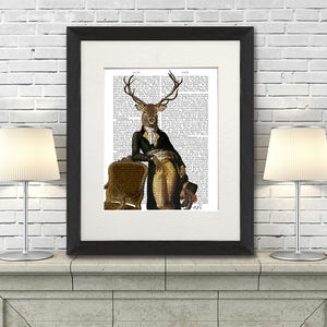 Deer Print, Deer And Chair Book Print