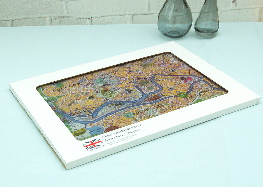 Bristol Map Glass Worktop Saver By Emmeline Simpson
