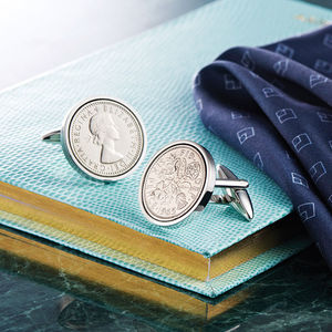 Sixpence Year Coin Cufflinks 1928 To 1967 - personalised jewellery