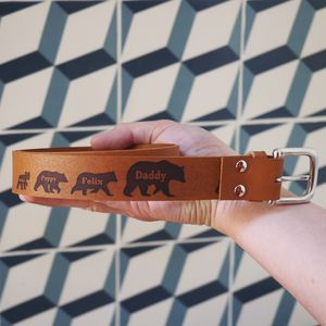 Personalised Father's Day Leather Bear Family Belt