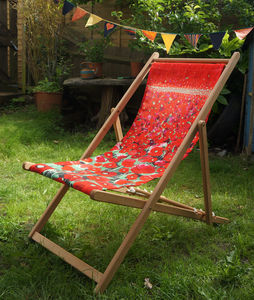 Poppy Art Print Deckchair - 40th anniversary: ruby