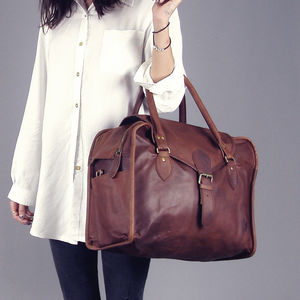 Vintage Style Brown Leather Baby Changing Bag - bags & purses