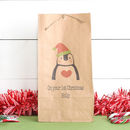 Personalised Penguin Christmas Gift Bag