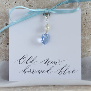 Something Blue Swarovski Crystal Heart Charm - jewellery sale