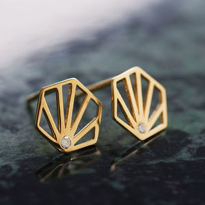 Diamond Hexagon Stud Earrings - winter sale