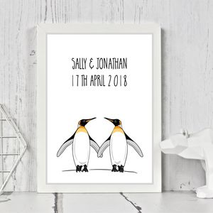 Couples Personalised Penguin Print