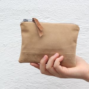 Reclaimed Suede Small Zip Pouch