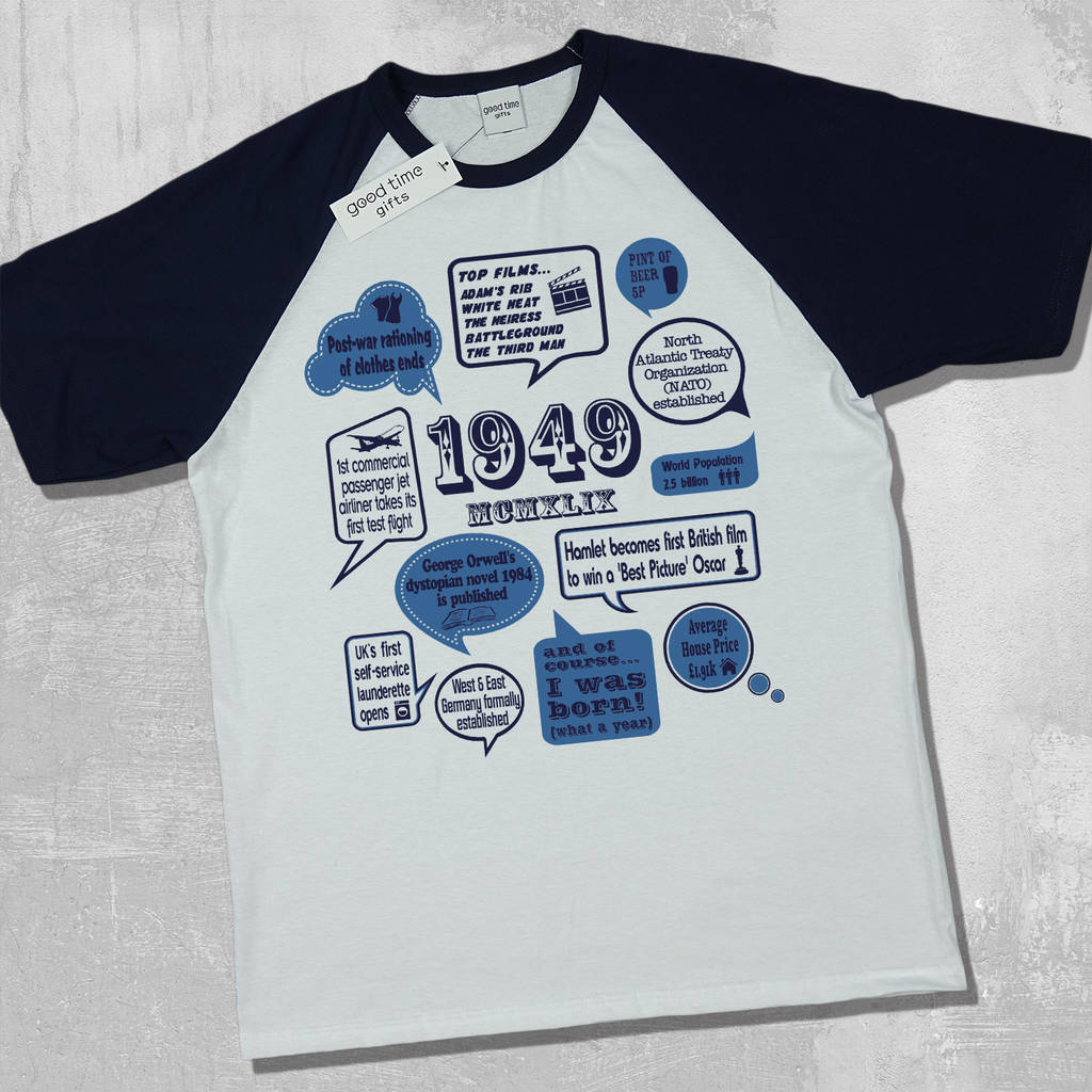 e672d48de events of 1949' 70th birthday gift t shirt by good time gifts ...