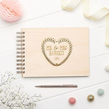 Floral Heart Wreath Wedding Guest Book