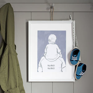 Daddy And Me 'Shoulder Ride' Print - gifts from younger children