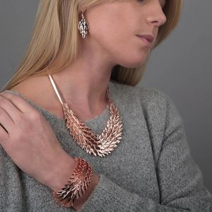 Rose Gold Feather Necklace - statement jewellery
