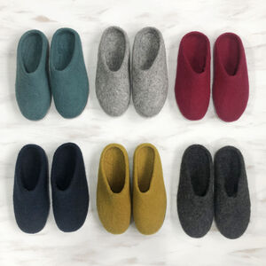 Fair Trade Handmade Eco Felt Mule Slippers Suede Sole
