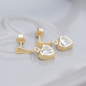 9ct Gold Cubic Zirconia Heart Drop Earrings - earrings