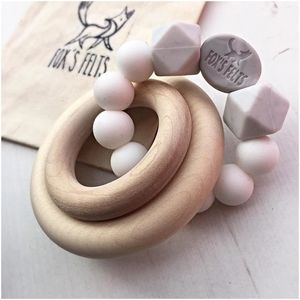 Theo Rattle Teether With Birch Ring